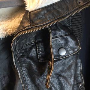Xhilaration Jackets & Coats - Leather Fluffy Vest